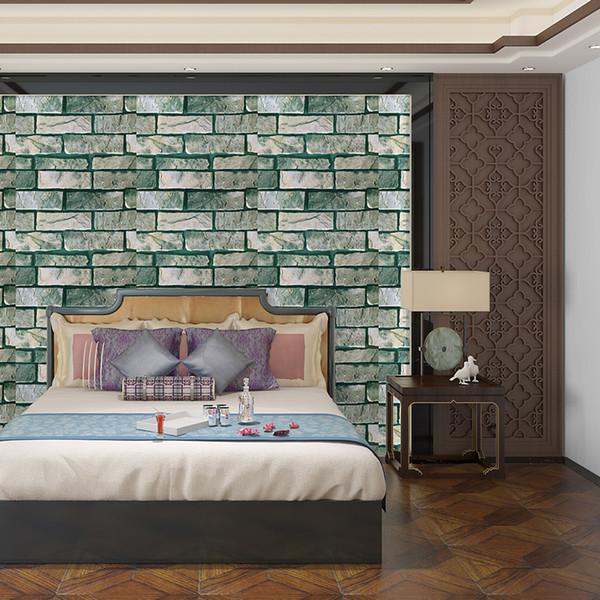 Kendinden Kuzey Avrupa 3D üç boyutlu tuğla ve taş çıkartması kağıdı oda tv arka plan duvar kağıdı mermer yaşayan yapışkanının