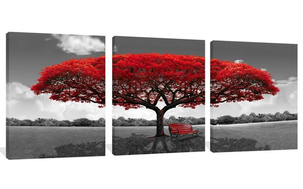 3 Panels Canvas Wall Art Red Tree Picture Landscape Painting Modern Giclee Artwork Ready to Hang Canvas Art Wall Decorations for Living Room