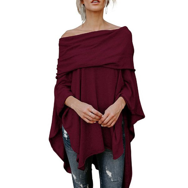 Women Fashion Clothing Ladies Casual Fall Tops Asymmetric Overlap Off Shoulder Top Solid Poncho Pullover Sweater