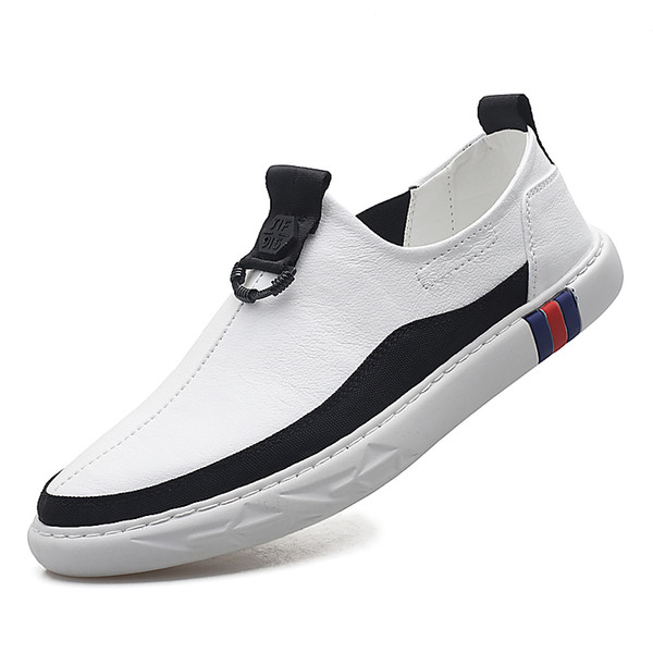 Hollow small white shoes leather male Korean version of lazy casual shoes foreign trade explosions shoes men