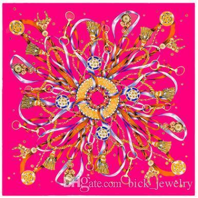 2019 Primera marca bufanda de seda de lujo nuevo de las mujeres el modelo colorido Chales cuadrado de la manera bufandas envío 90 * 90 cm