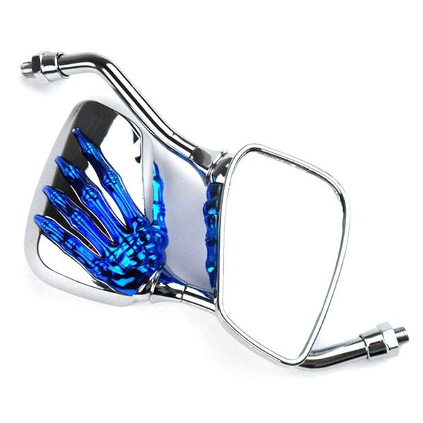 1 paire universelle moto en alliage d'aluminium guidon crâne main modèle fantôme griffe réglable miroir côté en verre