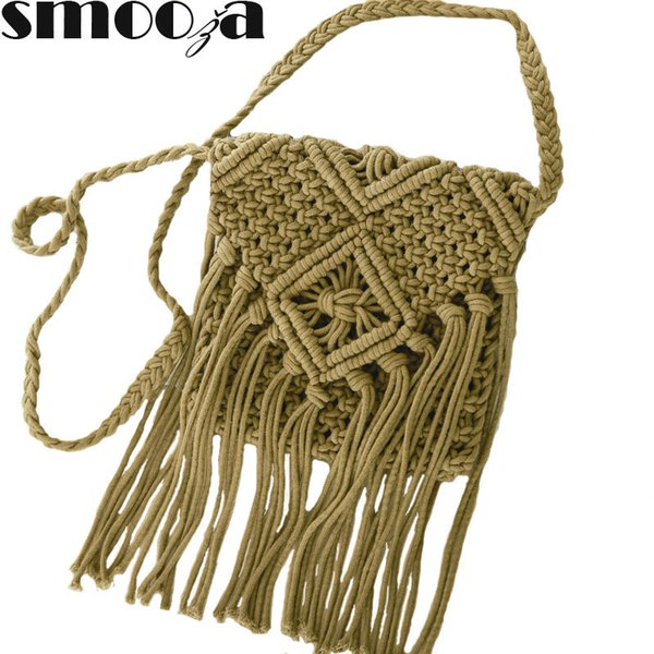 SMOOZA 2018 Women's Handbag Straw Shoulder Bag For Ladies Fashion White Handmade Cotton Rope Hollow Out Woven Tassel Bag Trend Y190619
