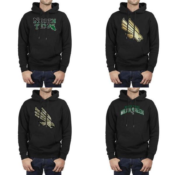 Мода Мужчины North Texas Mean Green Кокосовое дерево логотип черный зима Толстовка печати Vintage Superhero Толстовки камуфляж Золотой основной