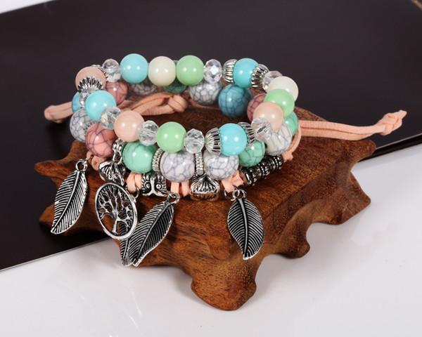 Простой браслет симпатичные лезвия кулон мрамор сочетание бисера костюм женский браслет Оптовая HY2763