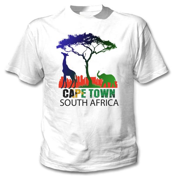 CAPE TOWN ЮАР - NEW COTTON WHITE TSHIRTFunny бесплатная доставка Unisex вскользь тенниска