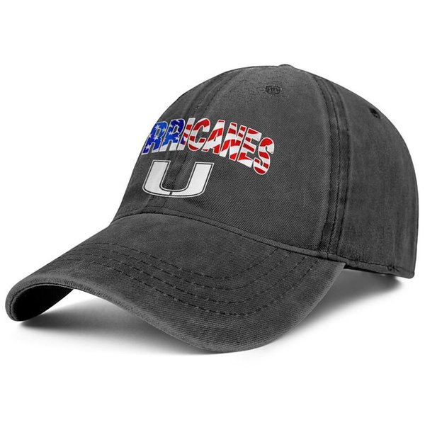 Miami Hurricanes football USA flag logo black Men and women Denim hat washing fishing hats styles designer Classic Relaxed Dad cap
