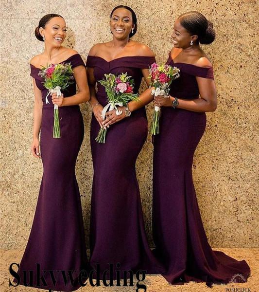 60fd773a3c54 Purple Bridesmaids Dresses 2019 Off Shoulders South African Long Wedding  Guest Dresses Plus Size Evening Prom