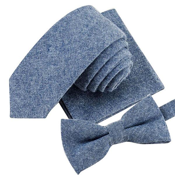 Celan Knoei 2019 New Fashion Hot Mens Necktie Sets Fashion Solid Color Soft Cotton 5.5cm Tie+Bowtie+Handkerchief Free ship #Z5