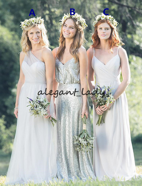 Vintage Bohemian Long Bridesmaid Dresses 2019 Spaghetti Backless Sequins Tulle Long Country Beach Junior Wedding Party Guest Gown