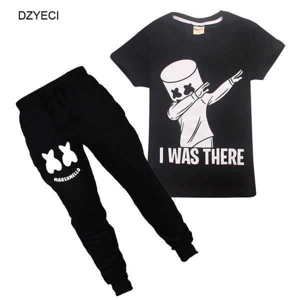 Traje de Marshmello para Big Boy Girl Set Ropa Dj Música para niños Boutique T Shirt + pantalón 2PC chándal traje de los niños ropa