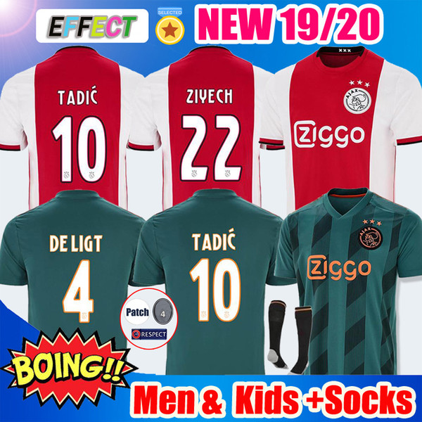 2019 2020 AJAX Soccer Jersey #7 NERES DE JONG Home Away ajax 19 20 #10 TADIC #4 DE LIGT #22 ZIYECH Men Kids football uniforms Kit With Socks