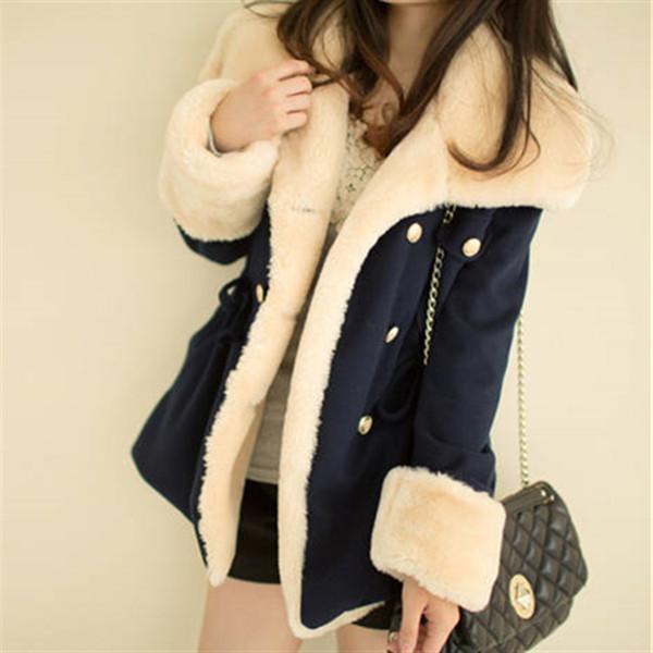 fast shipping 2019 winter warm coats women wool slim double breasted wool coat winter jacket women fur 's coat jackets