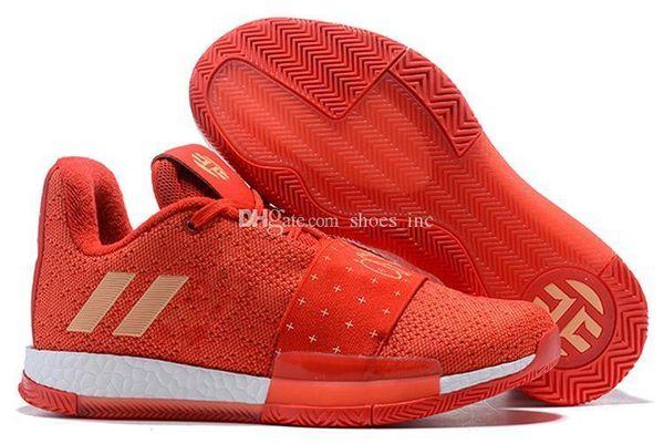 Mens Vol.3 Harden Basketbol Ayakkabıları Yüksek Kaliteli James Harden Vol.3 Sneakers Erkekler Kırmızı Gri Siyah Eğitmenler Spor Ayakkabı Boyutu 40-46