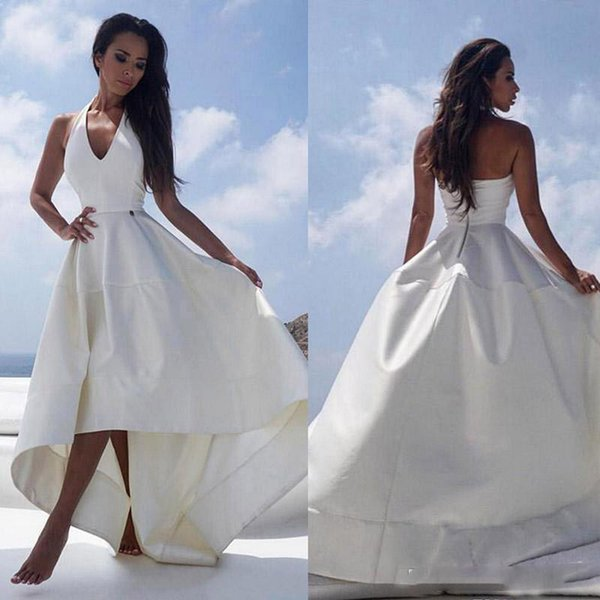 2019 Elegant Satin High Low Beach Wedding Dresses Halter V-neck Sexy Backless Reception Dress For Women Summer Bridal Party Gowns