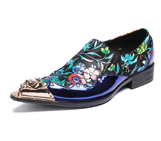 Fashion Man Shoes Cow Suede Mixed Color Print Flower Gold Head Metal Decoration Handmade Top Quality dress Shoes Men