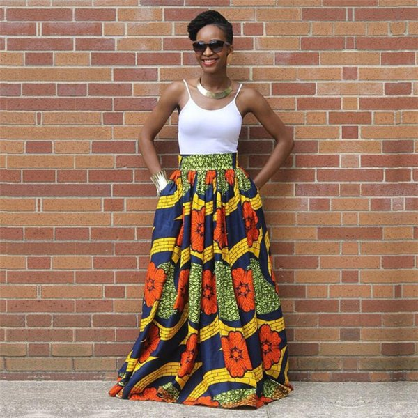 2018 Hot sale Sexy women long african skirt maxi printed Traditional africa style cloth lady loose skirt female plus size S-XL