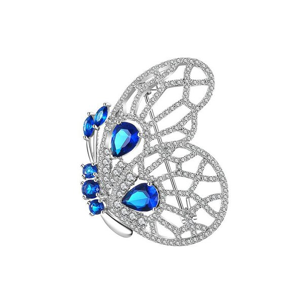 Personality Trend Fashion Copper Brooch Blue Red Crystal Butterfly Brooch Pin Dress Backpack High Quality Jewelry Accessories
