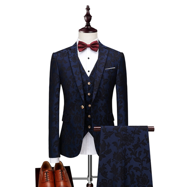 2019 Nuevos trajes para hombre con estampado de marca Azul marino Diseños de blazer floral para hombre Blazer de Paisley para hombre Chaqueta de traje de corte ajustado Hombres Esmoquin de boda