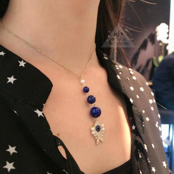 Apm Монако стиль ляпис-лазурь рыбы ожерелье морской жизни дизайн основной цвет синий как тема Морской синий Кристалл в сочетании Моды и веселья