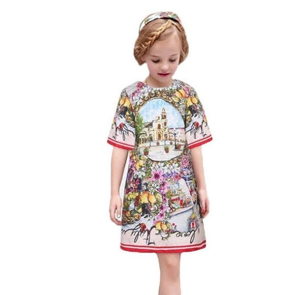 2-11Y Casual Girls Dress Kids Clothes Autumn Summer O-Neck Children Party Dresses for Girls Clothing Tutu New Princess Pattern