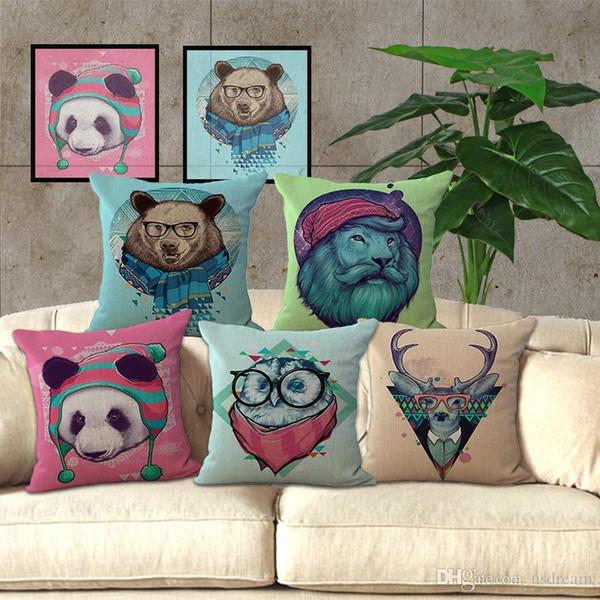 Cute Animal Pillow Case Panda Deer Lion King Pillow Cover Cushion cover Pillowcase Cover Square linen cotton sofa pillowslip 240517