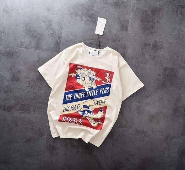 Women's Short Sleeve Three Pig Prints Back Classic English Letters Sequin Print T-Shirt