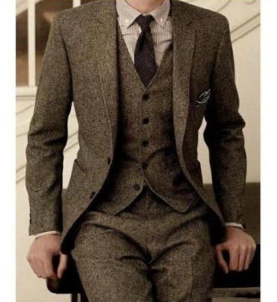 Vintage Mens Suits Wool Tweed 3-Piece Brown Khaki Herringbone Suit Custom Slim Fit Groom Wear Wedding Tuxedos