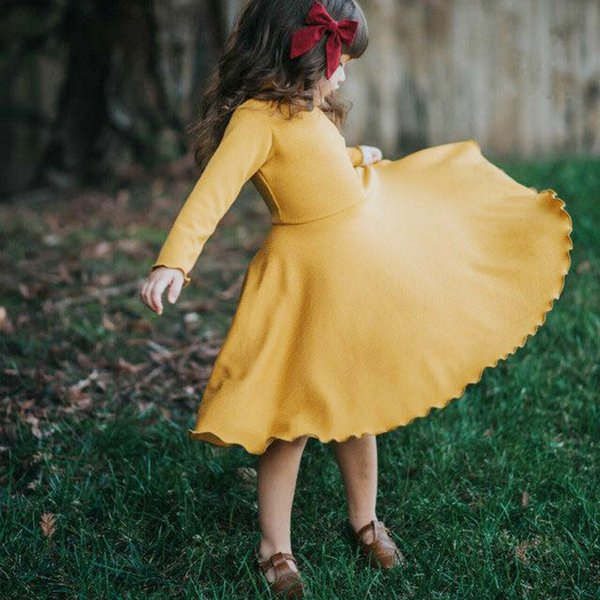 INS Cotton Big Ruffles Kids Clothes Children Dresses Girls New 2019 Spring Autumn Baby Girls Knitted Dress Long Sleeve Dresses