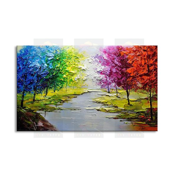 hand-painted modern living room decorative Landscape oil painting 100% best Knife painting original directly from arti FJSH1-010
