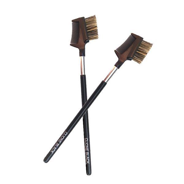 Cosmetic tool eyebrow and eyelashes dual-purpose eyebrow brush animal hair brush black wood handle portable professional makeup brushes
