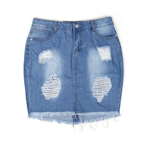Été Femmes Sexy Streetwear Taille Haute Court Denim Jupe Femme Évider Gland Moulante Split Cowgirl Mini Jupes Bleu Jeans C19041201
