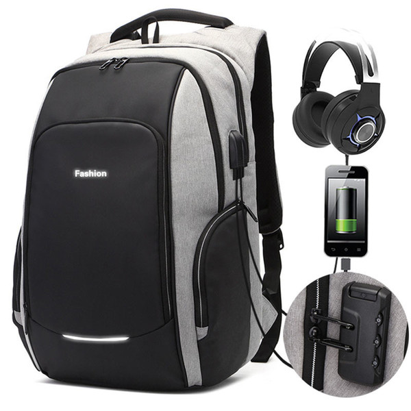 New Anti-theft Password Locks Backpack 15.6/17 Inch Laptop Usb Charging Backpack Business Travel Backpacks Men Bag School