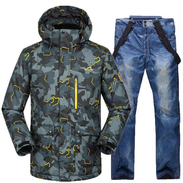 Acquista Tuta Da Sci Stampata Mimetica Maschile Da Uomo Impermeabile Giacca Da Sci E Pantaloni Da Snowboard Abbigliamento Tuta Da Sci Set Cappotti Da