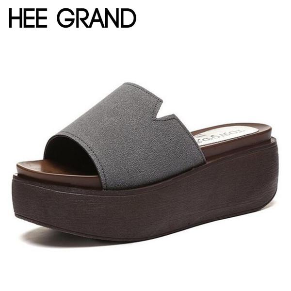 HEE GRAND 2019 Women New Slippers Wohnungen mit Plattform Women Fashion Causal Rubber Slide fit für Innen- und Außenschuhe XWT1133