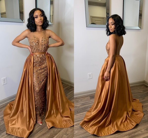 Glamorous Brown Mermaid Evening Dresses With Over Train Sheer Neck See Through Sweep Train Appliques Beads Arabic Formal Prom Party Gowns