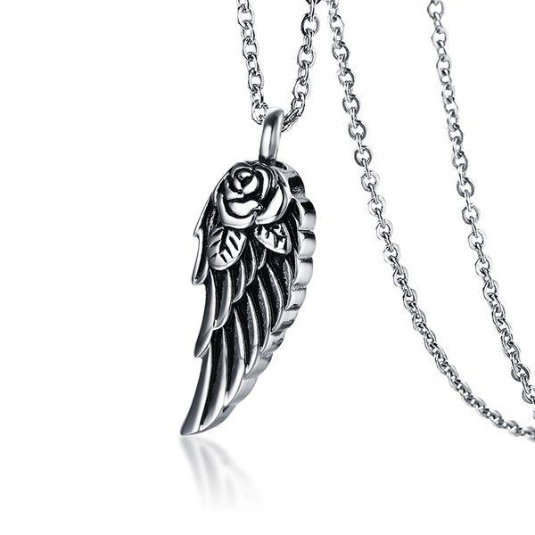 Pena de Prata antigo Anjo Asa Urna Cremação Colar em Aço Inoxidável Memorial Medalhão Presente Lembrança De Cinza Jóias