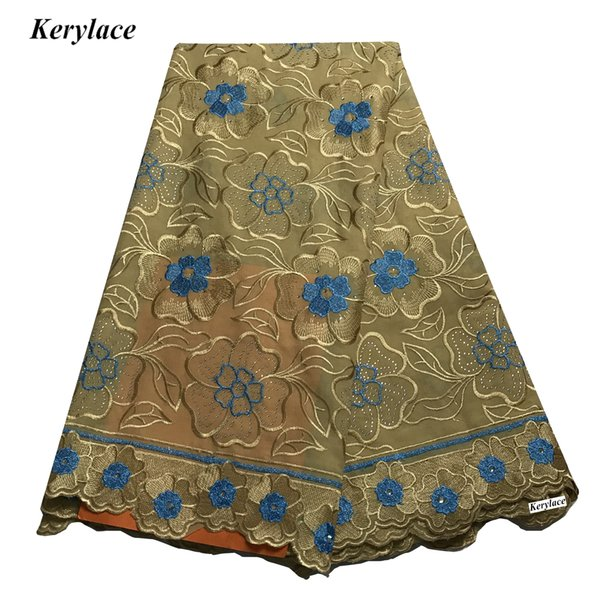 Gold High Quality African Swiss Voile Lace Big Lace Fabric Cotton Nigerian Lace Fabric 5 Yards Sewing Textile Embroidery Women Wedding Dress