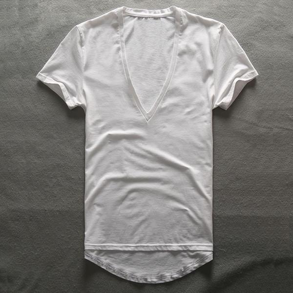 Zecmos Deep V Neck T-Shirt Men Plain V-Neck T Shirts For Men 2017 Moda de compresión Top Tees regalos del día del padre de los hombres