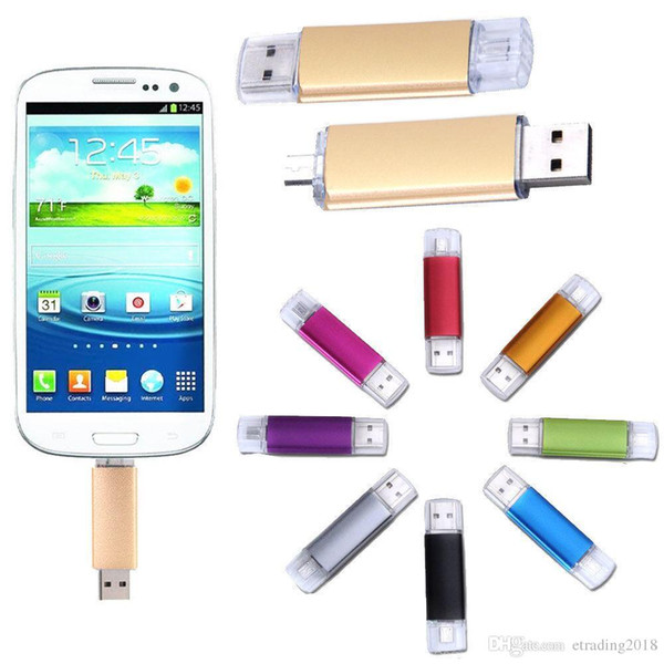 Design Real capacity 64GB OTG Dual Micro USB Flash Pen Thumb Drive Memory Stick for Phone PC