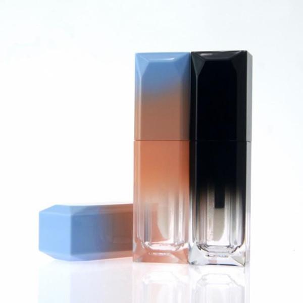 5ml Empty Plastic Lip Gloss Tube Square Pink Blue Gradient Cosmetic Beauty Liquid Lipstick Bottle Lip Oil Bottle F2697