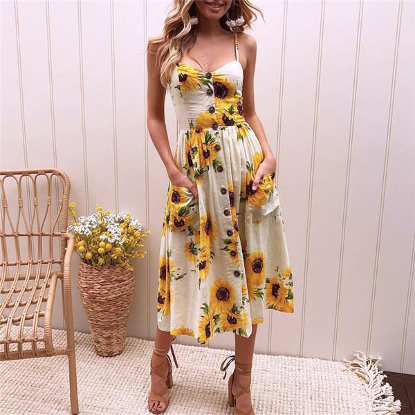 Boho Sunflower Floral Print Summer Dress 2018 Women Sexy V-Neck Sleeveless Strap Midi Dress Backless Beach Sundress Tunic XXXL