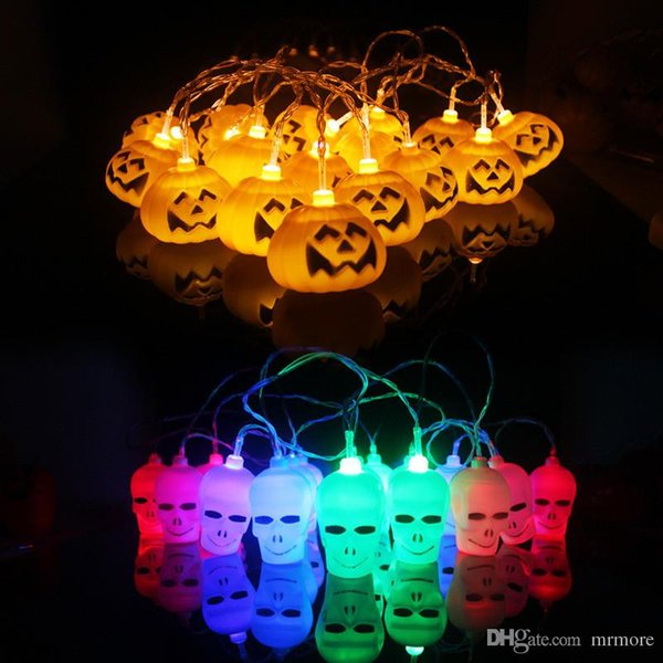 Hanging Halloween Pumpkin Lantern 3D Plastic Skull String Light 16 LED Orange Pumpkin Lights Halloween Holiday Decor