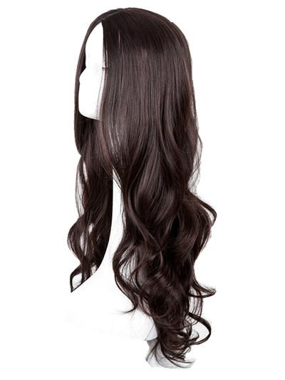 Long Curly Wig Fei-Show Synthetic Heat Resistant Middle Part Line Carnival Hair Costume Cos-play Halloween Party Salon Hairpiece