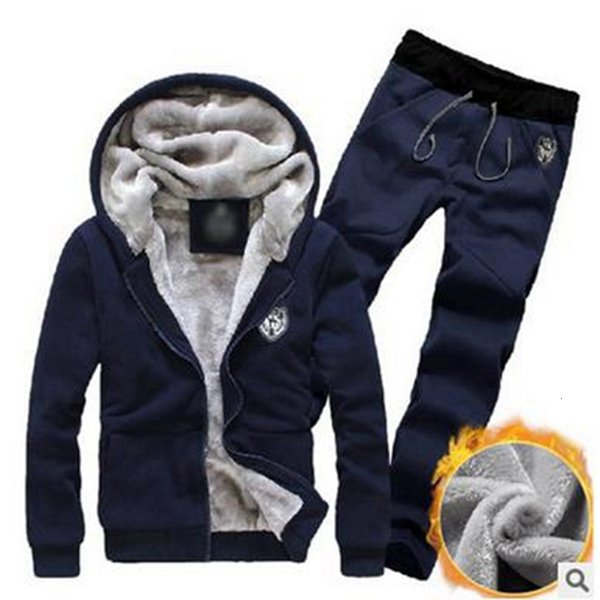 Litthing Survêtement Hommes Sport polaire épaisse capuche Marque Vêtements Suit Casual Track Jacket Men + Pantalon chaud hommes Ensemble Sweat-shirt d'hiver LY191130