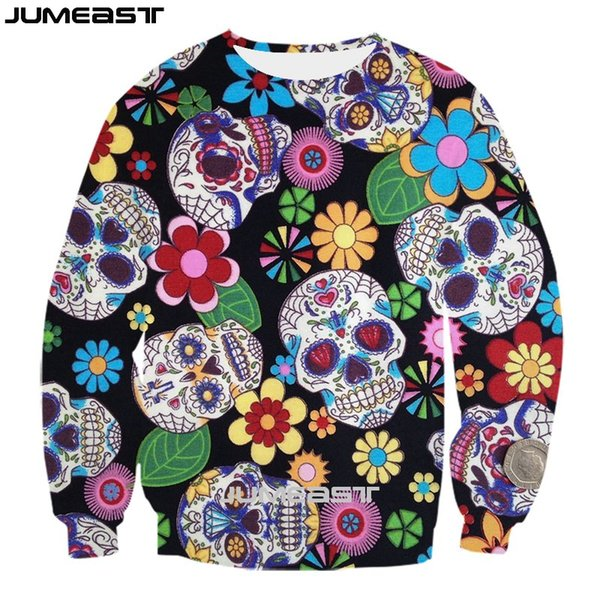 Jumeast Brand Men/Women 3D Printed Sweatshirt Red Rose And Skull Long Sleeve Fashion T Shirt Sport Pullover Spring Tops Tees