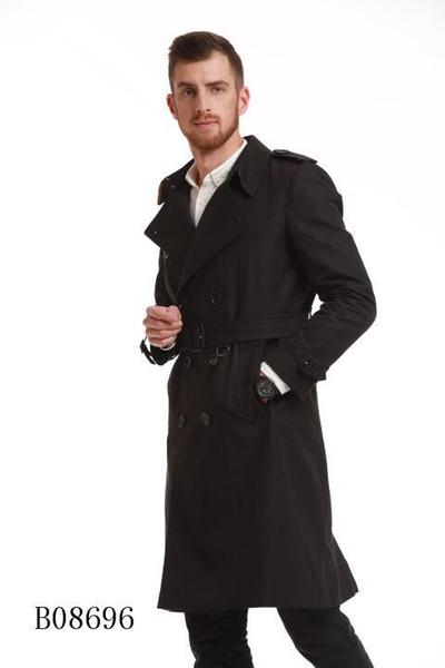 Мужские ветровки длинные двубортные пальто пояса сплошной цвет ветровка водонепроницаемый британский стиль классические пальто мужские
