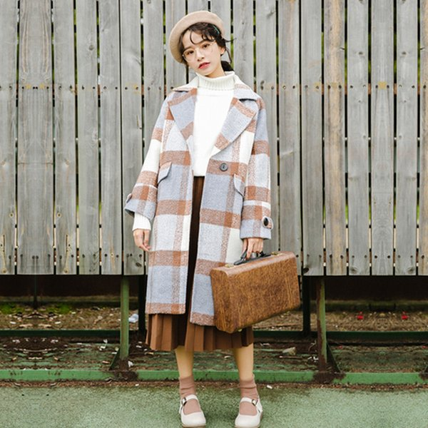 2019 High Quality Korean Style Fashion Plaid Long Wool Coat Women Warm Slim Long Sleeve Outerwear Casual Winter Coats Woman