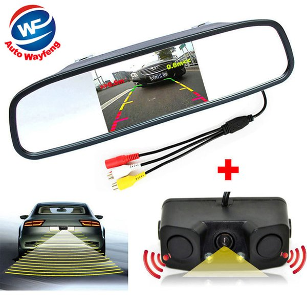 3in1 Video Parking Assistance Sensor Backup Radar With Rear View Camera + 4.3 inch LCD Car Rearview Mirror Monitor