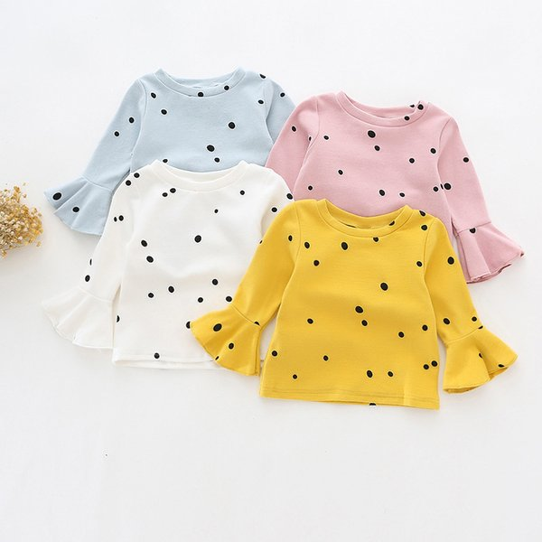 Girls Flare Sleeve Tees Fashion Style Polka Dot Girl Cotton T-shirts Long Sleeve T Shirt for Baby Blouse Children Clothing Tops